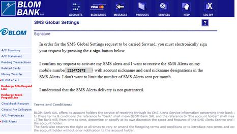 SMS Alerts | BLOM Bank Retail