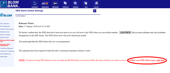 SMS Alerts   BLOM Bank Retail
